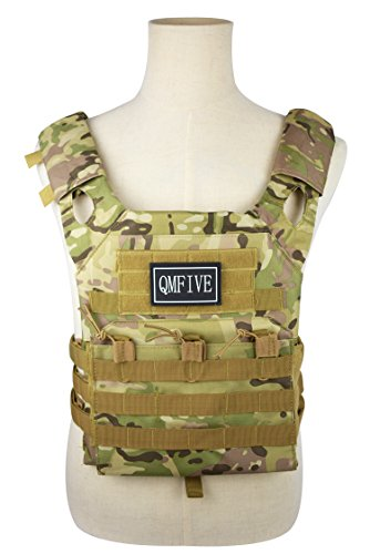 QMFIVE Military Army Tactical Airsoft Assault Jagdträger MOLLE Combat Weste (JPC-Tarnung)