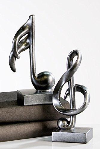 Moderne Skulptur Deko Objekt Music anthrazit Notenschlüssel und Note Poly Höhe 18 cm