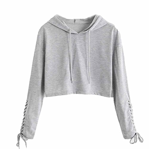 TWIFER Damen Hoodie Sweatshirt Pullover Crop Sport 2018 Winter Sweater Kapuzenpullover