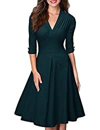 Miusol® Damen 3/4 Arm Ballkleid Rockabilly Cocktailkleid Stretch Business Vintage 50er Jahre Kleid Blau Grün EU 36-48