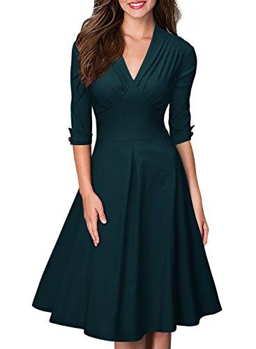 Miusol Damen 3/4 Arm Sommer Rockabilly Cocktailkleid Stretch Business retro 50er Jahre Kleid Gruen Groesse S