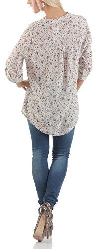 Malito Damen Bluse mit Blumen Print | Tunika mit ¾ Armen | Blusenshirt IM Vintage Look �?Shirt 6709 Beige