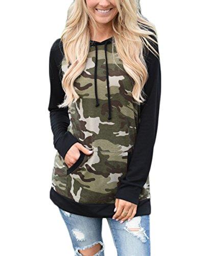 Kapuzenpullover ZJCTUO Mode Damen Frauen Langarm Shirt Loose lässige Bluse Camouflage Sweatshirt Oberteil Tops (42, Schwarz)