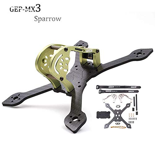 GEPRC GEP-MX3 Sparrow 139mm 3K Carbon Fiber FPV Frame True X-Type Mini FPV Racing Drone Quadcopter Frame Kit with RGB Leds for Runcam Micro Swift (Green)