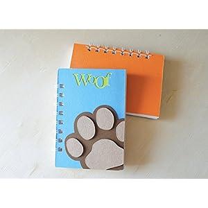Woof - Pfote - Notizbuch (Größe 14 x 9,5 cm) - Metallspirale weiße -Handemade Notizbuch - mit der Scrapbooking Technik realisiert - Geschenkidee.