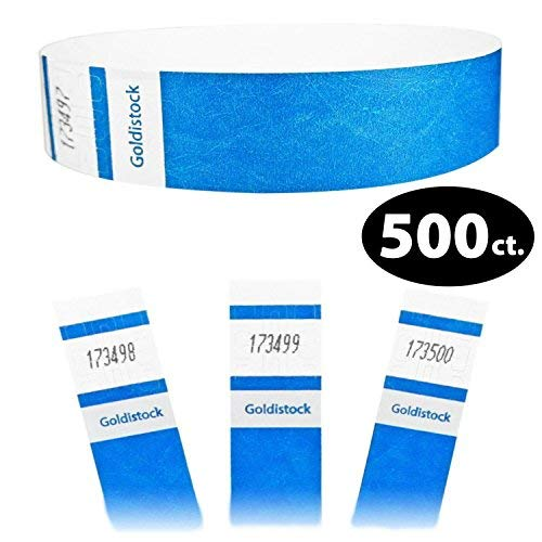 Goldistock Select Series - 3/10,2 cm Tyvek Wristbands vibrante Deep neon Blue 500 count - Event identificazione fasce (Paper - like texture)