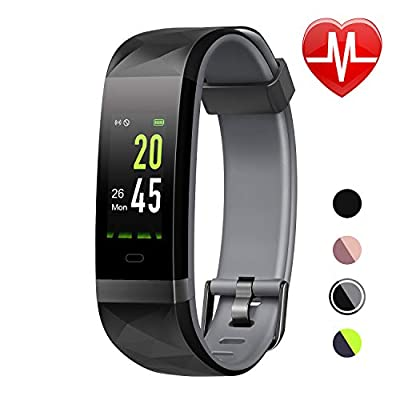 LETSCOM Fitness Tracker HR Color Screen, Heart Rate Monitor, IP68 Waterproof Smart Watch with Step Counter Sleep Monitor, Pedometer Watch for Men Women Kids by LETSCOM