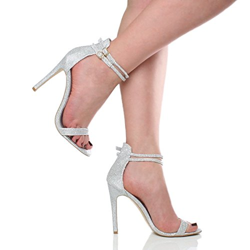 Femmes talon haut à peine là cheville lanières boucle fête soirée sandales pointure Argent Scintillante paillettes