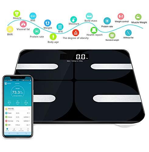 Love Life Bluetooth-Körperfettwaage Intelligente Digitale Badezimmerwaage, Geeignet für iOS und Android Smartphone-App Drahtlose BMI-Skala Körperfettmonitore, Fitness-Tracker schwarz (Bmi-skala)
