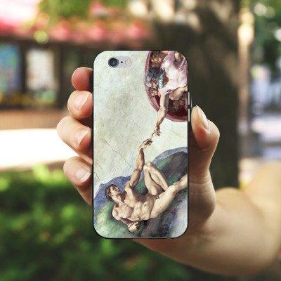 Apple iPhone X Silikon Hülle Case Schutzhülle Michelangelo Kunst Adam Silikon Case schwarz / weiß