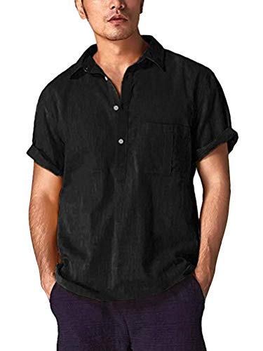 Shallood Herren Henley Leinenhemd Button Kurzarm Regular Fit Sommerhemd V-Neck Freizeit Roll-up Sleeve Casual Hemd T-Shirt Schwarz Large -