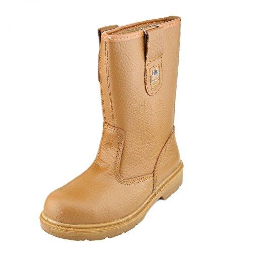 Kick Footwear - Herren Groundwork Stahl toe Sicherheit arbeiten slip ziehen an chelsea Knöchel Stiefel Händler - UK 13 / EU 47, Honig (Stahl-toe-stiefel-13)