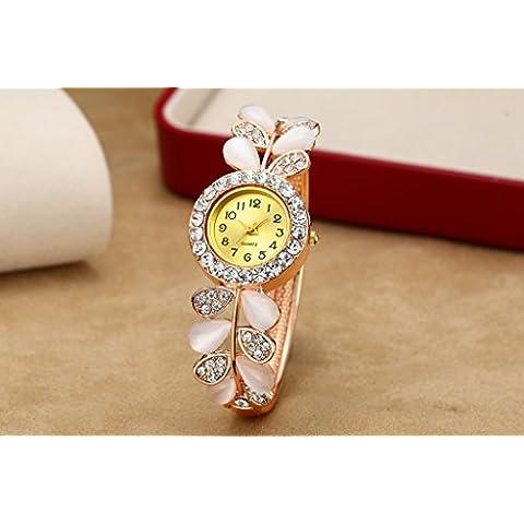 Tiannbu donna Fashion Bracciale strass quadrante rotondo braccialetto stile fiore di cristallo orologio da polso analogico al quarzo