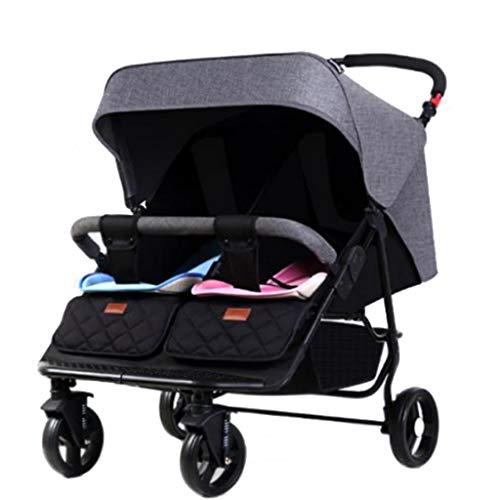 LYXPUZI Zwillingskinderwagen - Doppel kann sitzen liegend faltendes Licht Baby BB Auto Zwillingswagen (Farbe : Gray)
