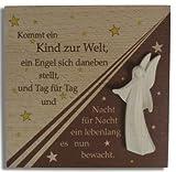 Anzm Holztafel Buche + geschnitzt Engel Kommt ein Kind zur 14 x 14 x 1 cm (9519319242721)