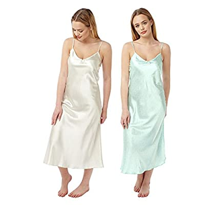 Ladies 2pack Satin Long Chemise / Nightie / Slips Mint with Cream Stars & Ivory - Sizes 8,10,12,14,16,18,20,22