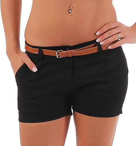 Malito Damen Chino Shorts in Unifarben   lässige Kurze Hose   Bermuda für den Strand   Pants - Hotpants 5397 (schwarz, M)