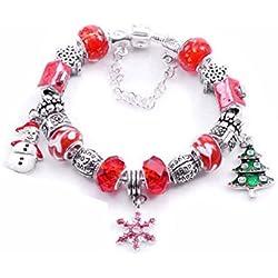 UEETEK Weihnachten Perlen Armband Wirstband Link Schneemann Schneeflocke Tree Ornament für Weihnachtsfeier