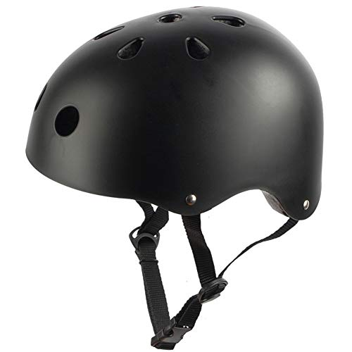 ZWYY Kids Bike Helme, Childrens Urban Skate Helmet Skating Skating Stunt Scooter Safety Helmet Adjustable Mountain Cycling Helm,Black,M