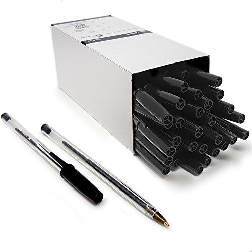 Nice Style, set di 50penne a sfera a punta media. Penne biro dal tratto fluido e scorrevole. Colore: nero
