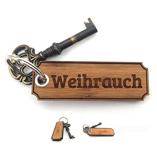 Preisvergleich Produktbild Mr. & Mrs. Panda Schlüsselanhänger Nachname Weihrauch Classic Gravur - 100% handgefertigt aus Bambus Holz - Anhänger, Geschenk, Nachname, Name, Initialien, Graviert, Gravur, Schlüsselbund, handmade, exklusiv