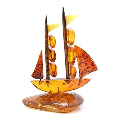 GENUINE HAND MADE BALTIC AMBER TALL SHIP - DECORATIVE BOAT ORNAMENT