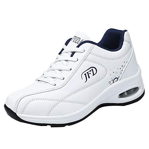 Damen Sportschuhe Laufschuhe Sneaker Atmungsaktiv Leichte Wanderschuhe Bequem Schnürer Gym Fitness Turnschuhe Unisex (Weiß,35)