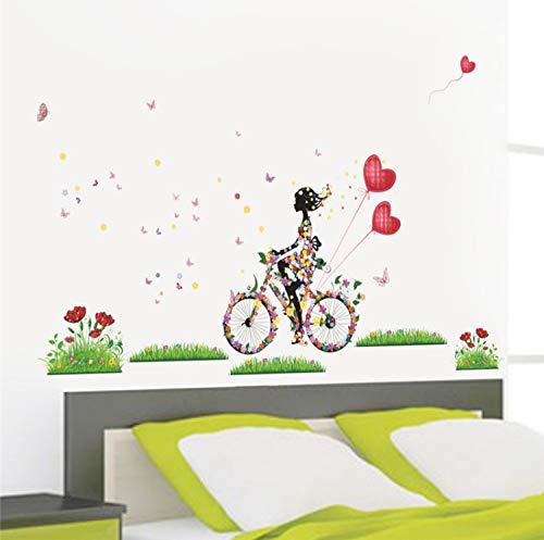 Blume fee wandaufkleber für mädchen zimmer mädchen radfahren wandtattoos schmetterling blumen herz ballon kunst wohnkultur diy wandbild - Radfahren Herz