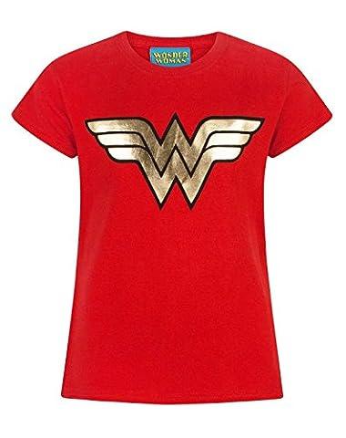 Official Wonder Woman Foil Logo Girl's T-Shirt (3-4 Years)