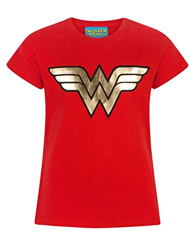 Official Wonder Woman Foil Logo Girl's T-Shirt (7-8 Years) (Woman Kids Shirt Wonder)