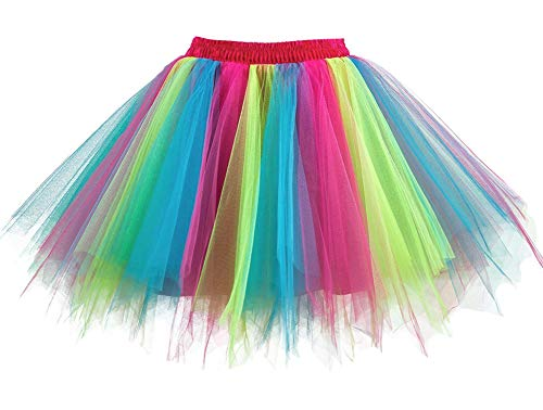 Clown Rainbow Kostüm - Aysimple Damen Kurz Tutu Rock Tüllrock