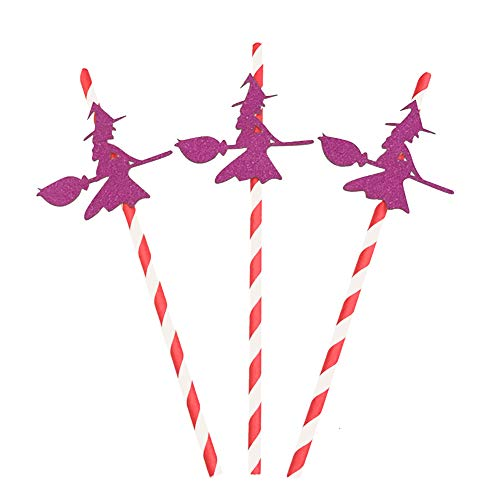 Treestar 10 Stück Halloween-Partys Strohhalme Einwegpapier Obst Saft Getränke Party Strohhalme Spinnen Fledermaus Kürbis Hexe 19,5 x 0,6 cm 19.5 * 0.6CM rot