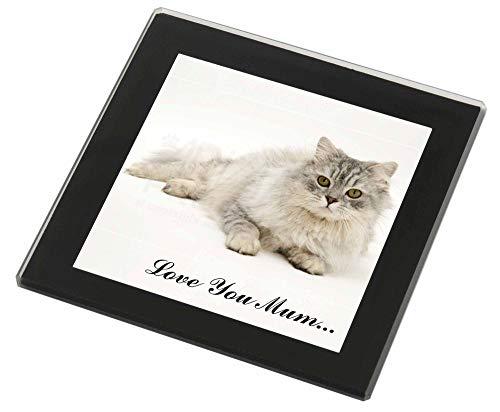 Advanta - Glass Coasters Chinchilla Perserkatze 'Love You Mum' Glasuntersetzer mit schwarzem Rand Weihnac -