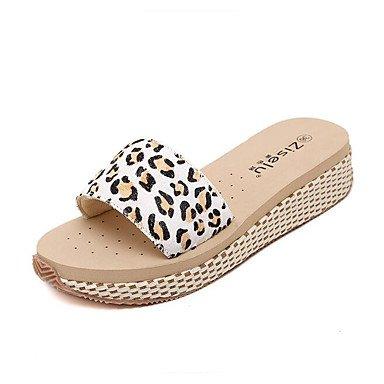LXILX 2016 jolie route leopard word crin confortable à fond, respirant sandales pantoufles sangles tissées chaussures à fond Black