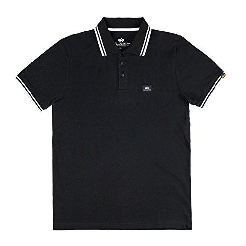 Alpha Baumwolle Polo-shirt (Alpha Industries Twin Stripe II Poloshirt schwarz/ weiß, Größe:XL)
