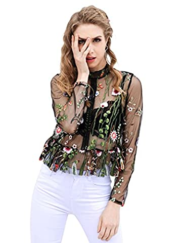 Simplee Apparel Women's Floral Embroidered Mesh Shirt Black Top Sheer Blouse Long Sleeve