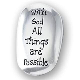 Cross My Heart With God All Things are Possible Polished Silver Coloured Metal Thumb Stone Pocket Token 4 cm 2.7cm