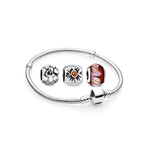 AKKi jewelry Charms Beads Armband und 3 Anhänger Starter-Set - Angebot Zirkonia Murano Glas bettelarmband Pandora Style kompatibel Damen Schmuck Geschenk Idee 20cm