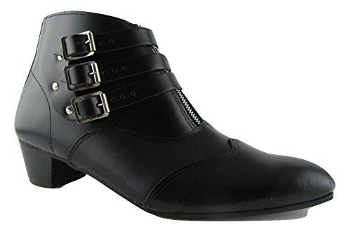 Unbekannt Retro NEU Herren 3Strap Lennon schwarz Leder Stiefel Chelsea Cuban Heel Beatle Stiefel Reißverschluss, Schwarz - schwarz - Größe: 45 -
