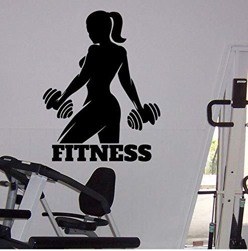 Lsfhb Gym Athletic Wandaufkleber Weibliche Fitness Sport Vinyl Aufkleber HomeWandkunstdekor Ideen Innenarchitektur58X75 ()