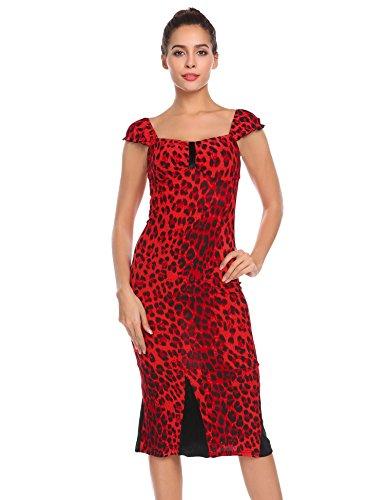 Zeela Damen Retro Vintage Kleid Leopard Etuikleid Patchwork Midikleid Trägerkleid Partykleid...