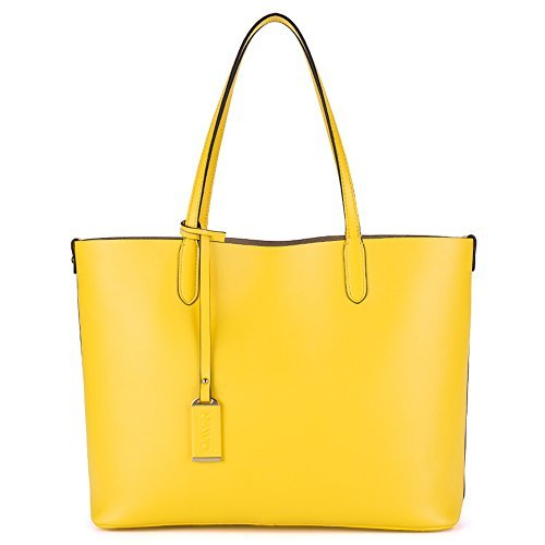 NAWO Leder Damen Designer Handtasche Schultertasche Umhängetasche Tote Bag Gelb (Tote Designer-handtasche Bag)