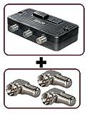1 x Umschalter für BK- und SAT-Anlagen (F-Buchse auf 2x F-Buchse),schwarz + 3 x Winkelübergang - Adapter (F-Stecker - F-Kupplung)