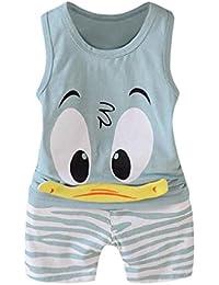 QinMM niños Bebes Animados Pato Camiseta + Pantalones Cortos Conjunto, Camisa sin Mangas