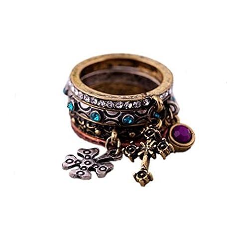 Kaariag Punkin Vintage Multiple Cross Pendant Ring Set by Kaariag