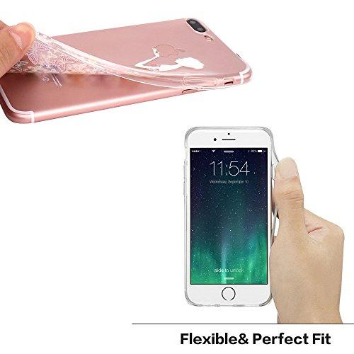 iPhone 7 Plus Hülle, JIAXIUFEN TPU Silikon Schutz Handy Hülle Handytasche HandyHülle Etui Schale Schutzhülle Case Cover Tasche Etui für iPhone 7 Plus (5,5 Zoll) - Pink White Tribal Mandala Dream Catch Color19