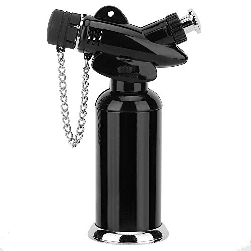 zeug, Winddicht Sicherheitsschloss Gas Butanfeuerzeug Brenner BBQ Herd Herd Zünder für Handwerk Kochen BBQ Backen (Butangas Nicht Enthalten)(Schwarz) ()