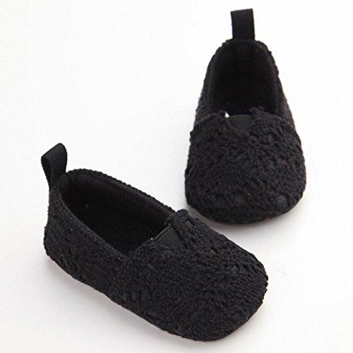 Ouneed® Krabbelschuhe , 0-18 Monate Baby Kind Mädchen weiche Sohle Krippe Kleinkind Neugeborenes Schuhe Schwarz