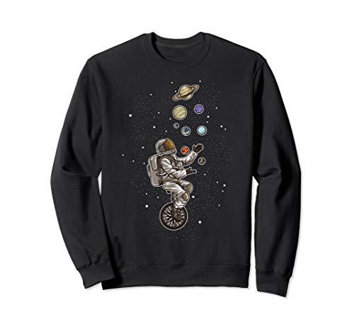 Astronaut jongliert Planeten auf einem Einrad   Raumfahrer Sweatshirt