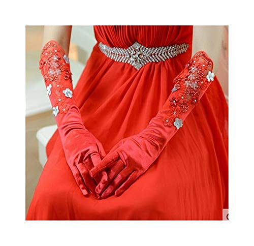 Ywlanlantrading Handschuh Satin Bow Braut Lange Handschuhe Hochzeit Handschuhe Vintage Floral Ellenbogen Länge Handschuhe Spitze Handschuhe elegant für Hochzeits-Dinner-Parties (Color : ()